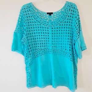 Lane Bryant Open Knit Crochet Turquoise Tunic Top